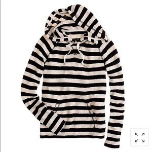 J Crew Striped Popover Hoodie Size M
